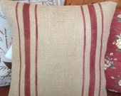 Burlap Striped Grain Sack Pillow with Rustic Red Stripes by sweetjanesplan