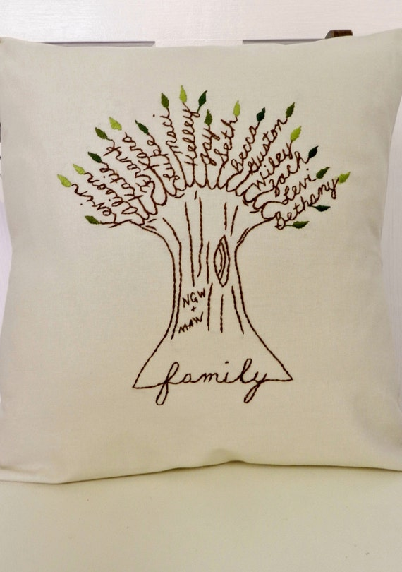 DIY family tree Pillow - Christmas Gifts to start now.