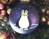Glass Christmas Ornament Hand Painted Penguin Igloo Blue Ribbon Bow