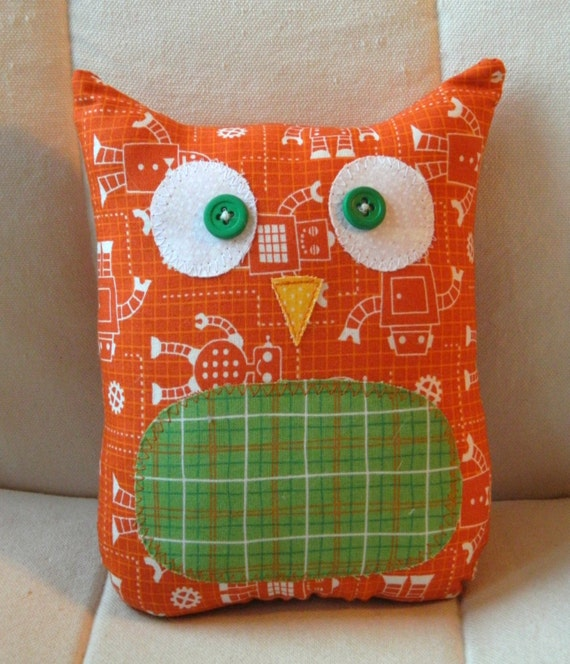 Ollie the owlet stuffed owl orange robots with green plaid belly