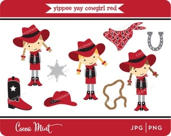 Yippee Yay Cowgirl Red Clip Art