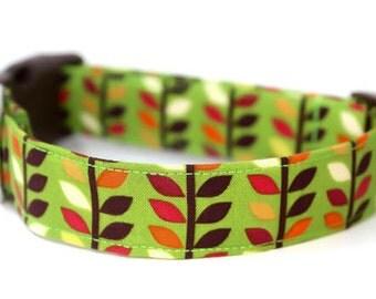 Dog Collar / Herringbone Dog Collar / Green Dog Collar / Modern Floral Dog Collar / Adjustable Dog Collar / Geometric Collar