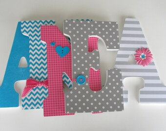 Baby Girl Nursery Wall Letters - Gray, Hot Pink, and Teal Turquoise - Wood Wall Decorations