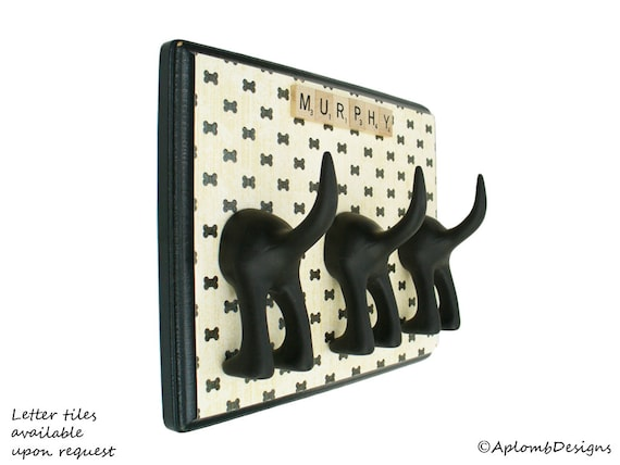 Dog Leash Holder - Triple Tail - Bow Tie Bones - Personalize with Optional Letter Tiles