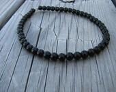 Beaded Ankle Bracelet- Black Obsidian- Stone Anklet