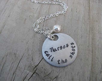 "Nurse's Necklace, Gift for Nurse, Nursing Student, Caregiver- ""Nurses call the shots"" with an accent bead in your choice of colors"