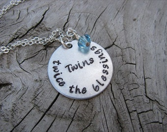 """Mother of Twins Necklace, Gift for Expectant Mother, New Mother, """"Twins- twice the blessings"""" with an accent bead in your choice of colors"""