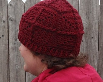Crochet pattern - adult and teen hat - made w/ motifs - Giant Redwood Cap
