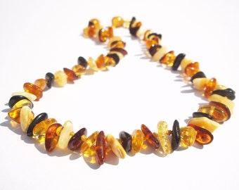 Multicolor Random  shaped  Natural  Baltic Amber  Baby Teething Necklace.