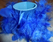 Can Cozy, Koozie Can Holder, Bottle Holder, Glitter and Feather , Blue