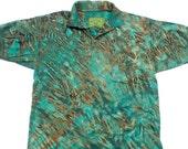 XL Shibori Polo Shirt Jade
