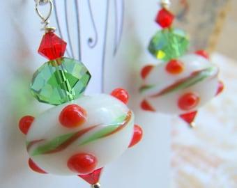 Festive Beaded Earrings Christmas Colors Red White Green Lampwork Glass Bead Earrings  Swarovski Crystal  Sterling Silver - HO0013