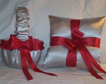Silver Satin With Red Ribbon Trim Flower Girl Basket And Ring Bearer Pillow Set 3