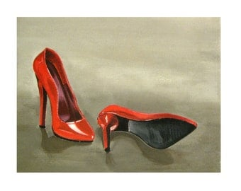 Red High Heels Stiletto Shoes, Haute Couture, Fatal Woman, Minimalist, Original illustration Artist Print Wall Art,  Free shipping in USA.