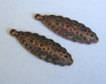 6pcs- Antique Copper Dapped Drop Pendant 40x13mm.   .