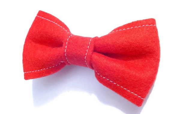 Felt Bow Hair Clip, Red Bow, Bow Hair Clip, Bow Clip, Felt Clip
