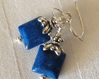 Small Denim Blue Howlite Crystal Earrings in Silver