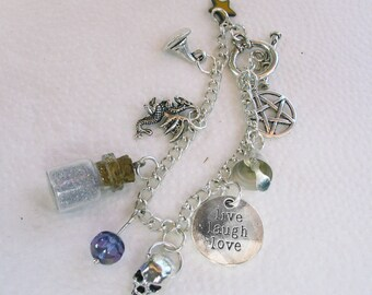 Mystical Silver Wiccan Fantasy Charm Bracelet