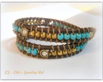 leather bracelet, Turquoise bracelet , beades bracelet, double wrap brown leather bracelet , leather wrap bracelet , swarovsky bracelet,