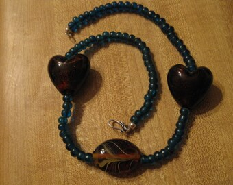 Blue African trade beads, brown lampwork focals, sterling necklace