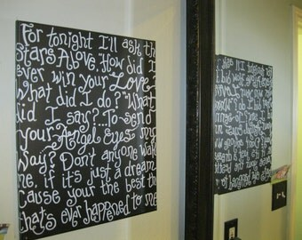 "Favorite Lyrics on a 16"" X 20 "" Gallery Wrapped Canvas Custom order with your song and your colors"