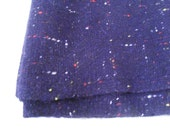 1 Yard Wool Fabric Navy Blue Woven with Red White and Yellow Threads Vintage 50s