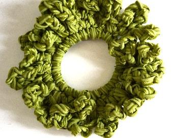 Olive green Ribbon looped Crochet scrunchies