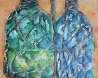 "Original Watercolor Batik Painting on Rice Paper ""Water Bottles"" 17.5 X 13 inches"