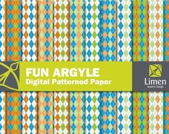 Argyle Digital Scrapbooking Paper, Argyle Digital Paper Pack, Argyle Paper, Argyle Pattern, Diamond Paper, Preppy Digital Paper