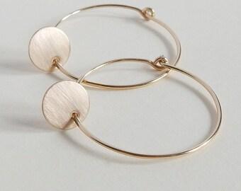 Gold Hoop Earrings, Gold Earrings, Thin Gold fill Hoops