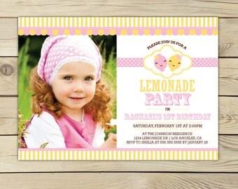 Pink Lemonade Birthday Invitation Printable - lemonade birthday party - lemonade stand - lemonade first birthday - lemonade party invitation