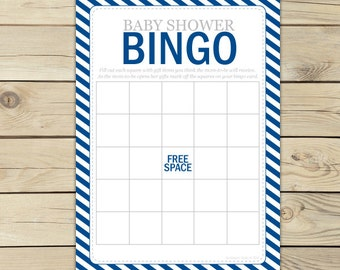 Navy Blue Baby Shower Bingo Game - Navy Blue Baby Shower Games Printable - Instant Download - Boy Baby Shower Game - Baby Bingo Cards -