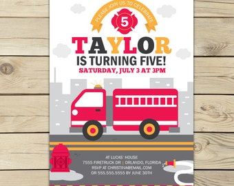 Fire truck Invitation Printable - Firetruck Birthday Invite - Red Fire Engine - Fire Truck Birthday Party - Firetruck Party - Boy Invites