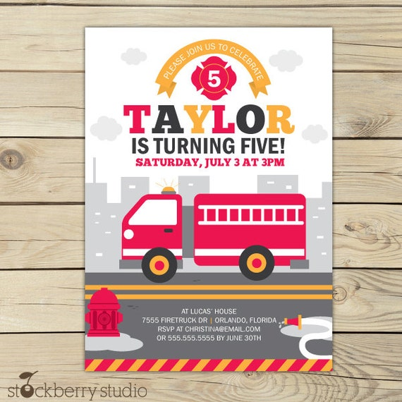 Firetruck Birthday Invitation Fire truck Invitation Printable – Fire Truck Birthday Invitation