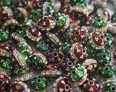 SALE Rare Red and Green  - 12 mm Floral Indian Enamel Cloisonne/Meenakari beads with rhinestone (4)