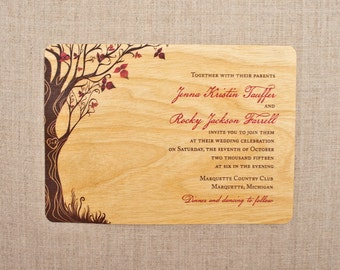 Real Wood Wedding Invitations - Fall Curly Tree Horizontal