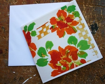 Orange Floral Textile Design Card Vintage Handkerchief Design