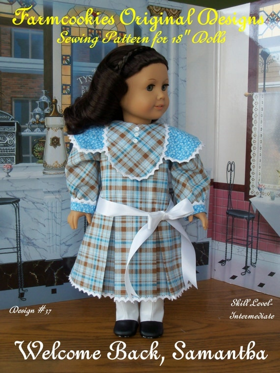 """PRINTED Sewing Pattern / Welcome Back, Samantha! / Patterns for American Girl Samantha, Nellie or other 18"""" Dolls"""