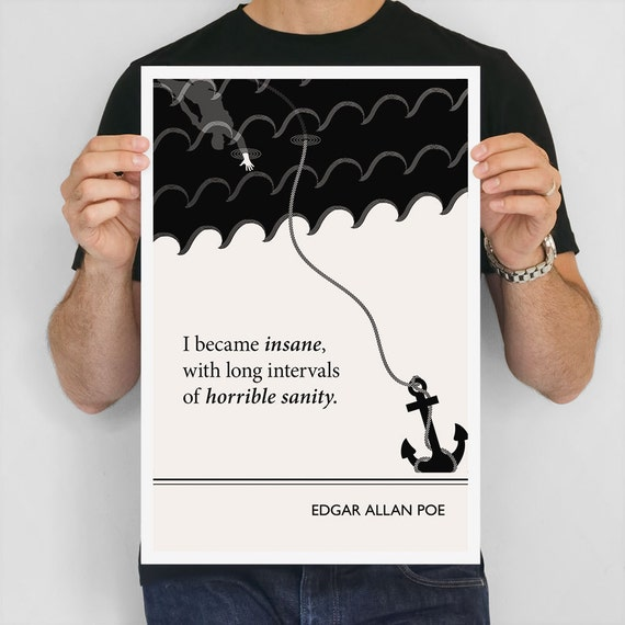 "Literary Art Print, "" Edgar Allan Poe"" Large Wall Art Posters, Literary Quote Poster, Illustration, Black and White Art, Literary Gift"