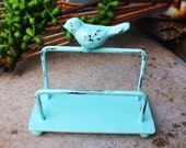 Aquamarine Bird Business Card Holder- Pastels-Craft Fair Display- New Business Gifts-New Job