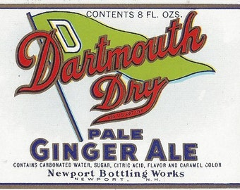 Dartmouth Dry Pale Ginger Ale Vintage Soda Label, 1930s