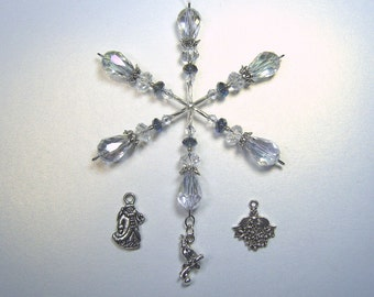 Christmas Symbols snowflake ornament / suncatcher / light catcher