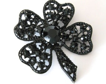Black Rhinestone Shamrock Brooch, signed LJM Laurentian Jewellery Co. 1950s, Four Leaf Clover