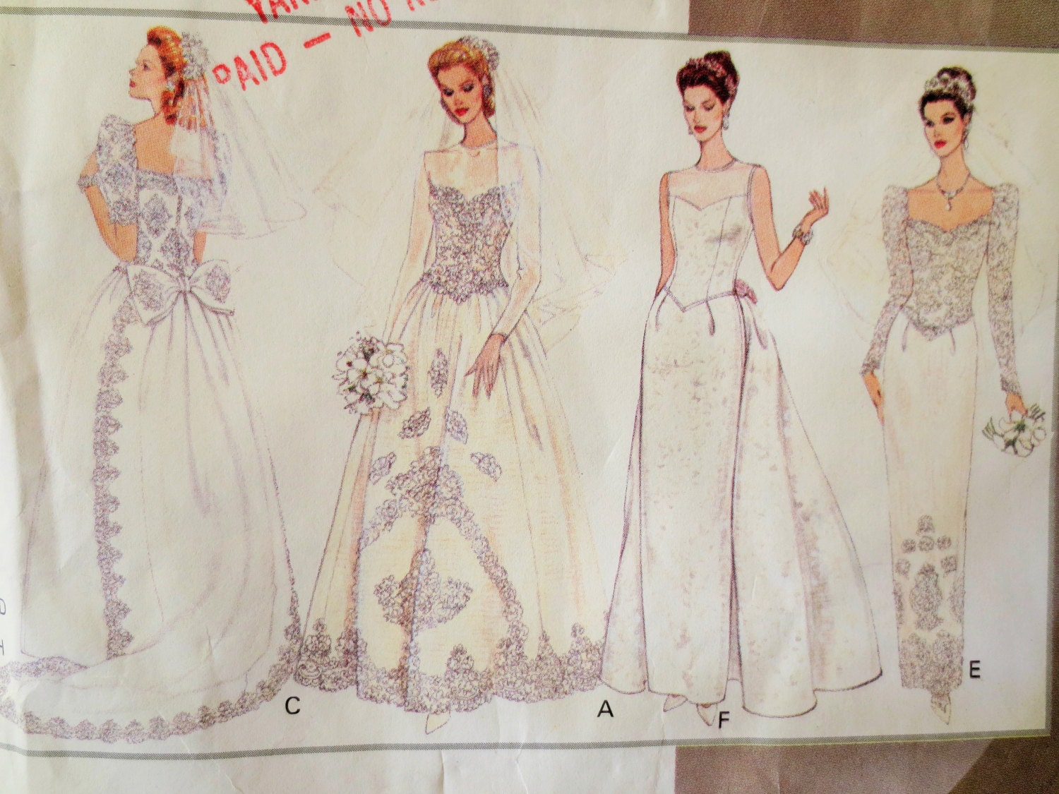 Vintage vogue 1325 sewing pattern wedding dress pattern for Wedding dress patterns vintage