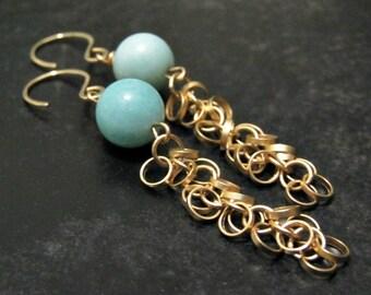Gold Chain Earrings Tassel Earrings Aqua Blue Amazonite Gemstone Earrings Spring Summer Jewelry Pastel Earrings