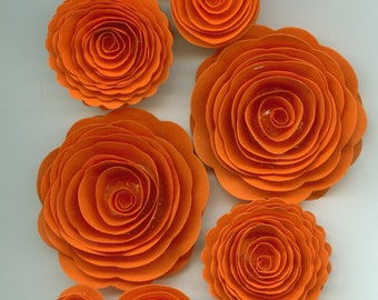 Pumpkin Orange Handmade Spiral Paper Flowers