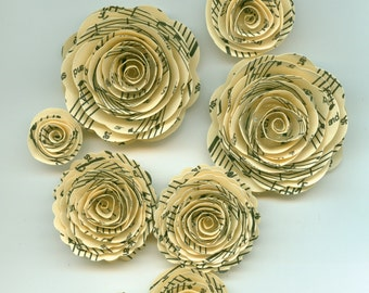 Ivory Music Note Rose Spiral Paper Flowers for Weddings, Bouquets, Events and Crafts