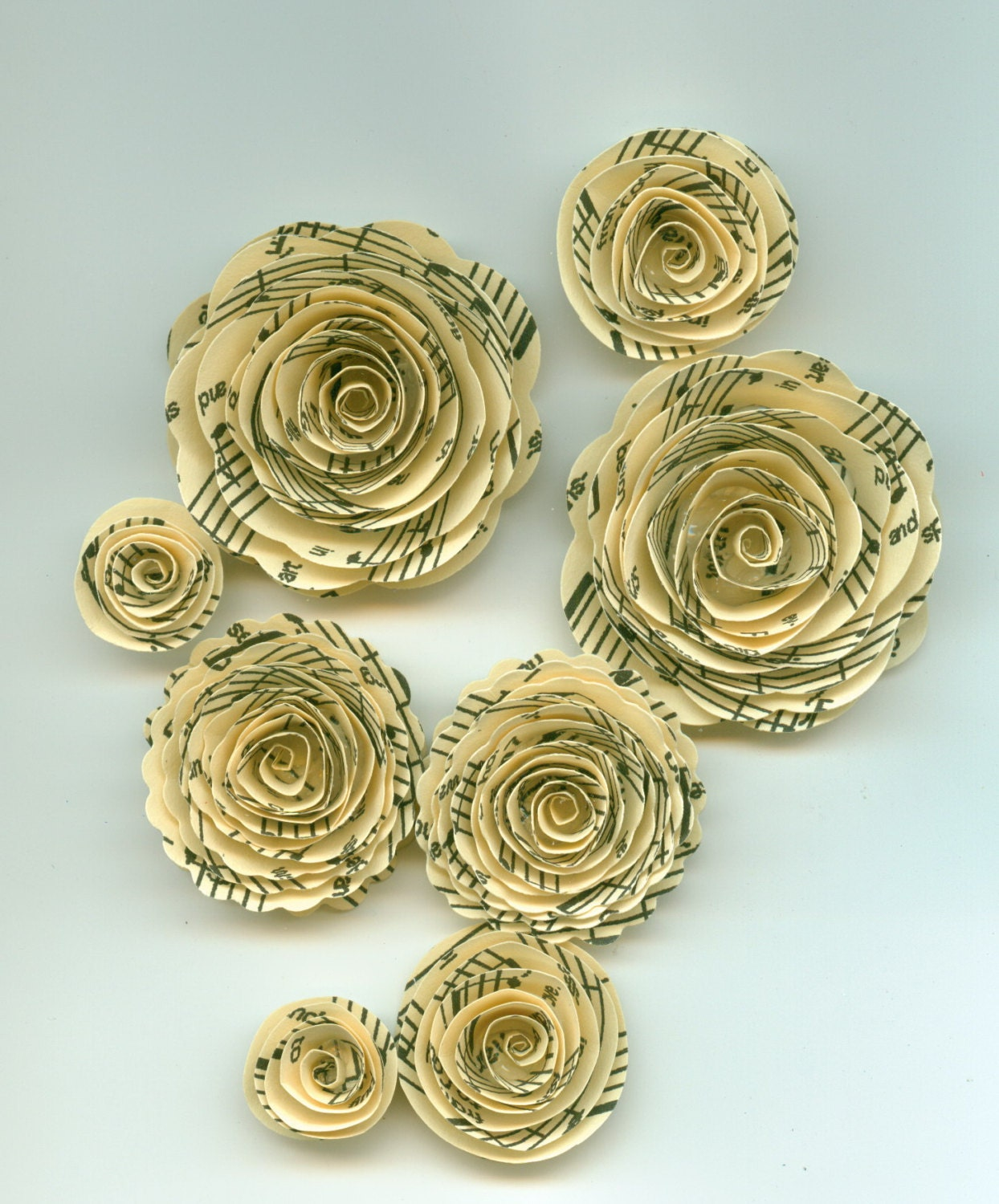 Ivory Music Note Rose Spiral Paper Flowers For Weddings Bouquets