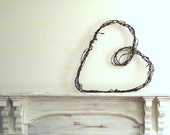 Barbed Wire Heart Wreath / Large Rustic Wire Wreath Wedding Decor / Industrial Wall Hanging / Primitive Farmhouse / Valentines Day Gift