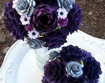 Paper Bouquet - Paper Flower Bouquet - Wedding Bouquet - Toss Bouquet - Purple and Grey - Custom Made - Any Color